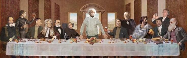 Last Supper, Galileo Galilei, Marie Curie, J. Robert Oppenheimer, Isaac Newton, Louis Pasteur, Stephen Hawking, Albert Einstein, Carl Sagan, Thomas Edison, Aristoteles, Neil deGrasse Tyson, Richard Dawkins, Charles Darwin!