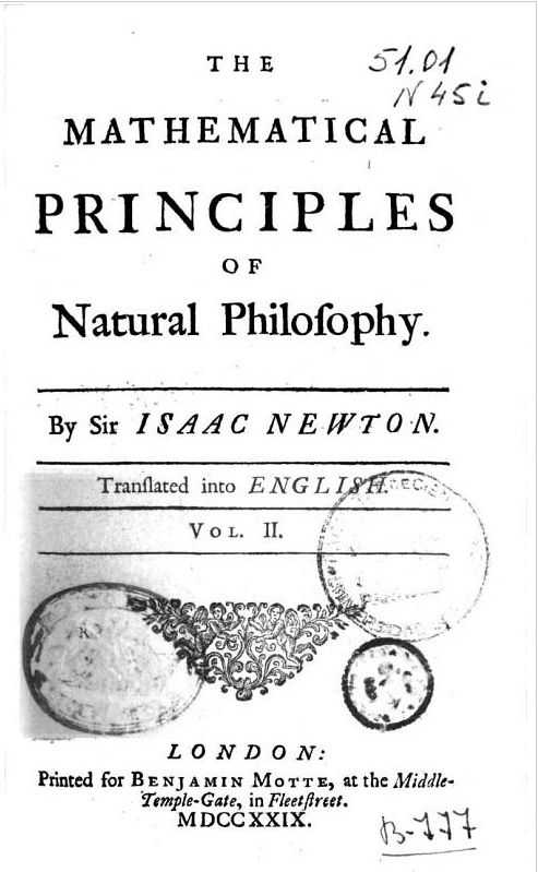 The mathematical principles of Natural Philisophy. Cover page