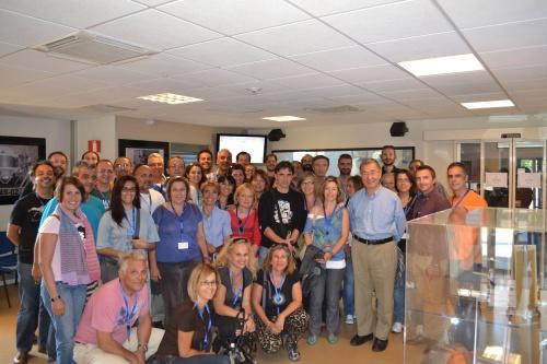 Samuel Ting. Physics Nobel 1976 with Greek Teachers at CERN. August 2013